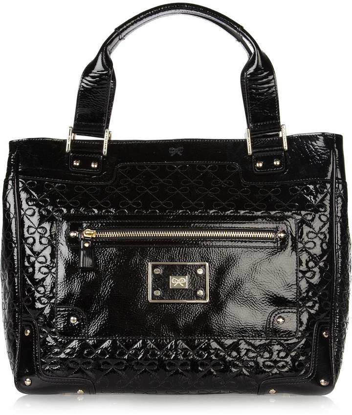 Anya Hindmarch Embossed patent-leather tote