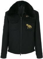 Fendi racoon fur trim printed jacket