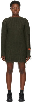 Heron Preston Green Wool Knit Patch Dress