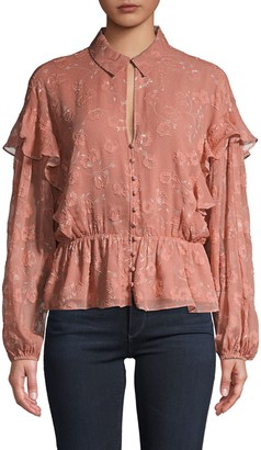Joie Embroidered Silk & Cotton-Blend Top