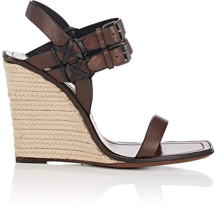 Saint Laurent Women's Leather Espadrille Wedge Sandals