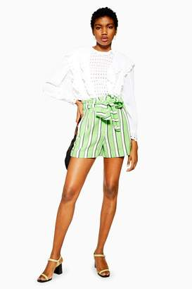 Topshop Green Stripe Shorts