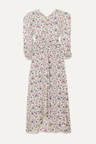 Isabel Marant Albi Draped Printed Silk Crepe De Chine Midi Dress - Pastel yellow
