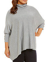 Intro Plus Cowl Neck Long Sleeve Solid Poncho