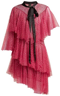 Romance Was Born Chrysalis Asymmetric Tiered Tulle Dress - Womens - Pink
