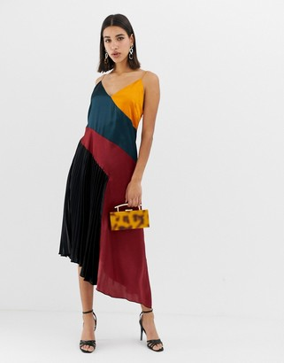 Asos DESIGN pleated midi dress in color block satin