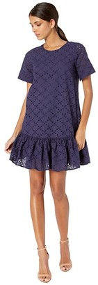 Milly Leaf Eyelet Cece Dress (Navy) Women's Clothing