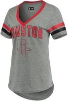 G Iii Women's G-III 4Her by Carl Banks Gray/Red Houston Rockets Walk Off Crystal Applique Logo V-Neck Tri-Blend T-Shirt