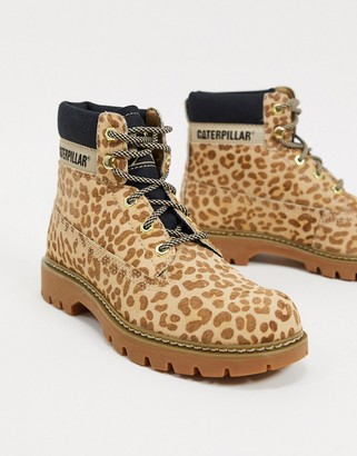 CAT Footwear CAT leather hiker boots in leopard