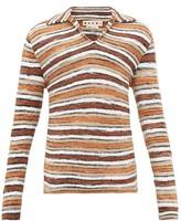 Marni Open-collar Striped Sweater - Mens - Brown Multi