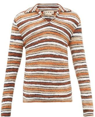 Marni Open-collar Striped Sweater - Brown Multi