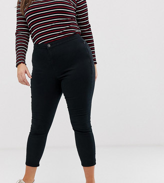 Asos DESIGN Curve ankle length stretch skinny trousers with zip side pockets-Black