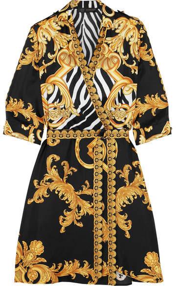 Versace Wrap-effect Printed Silk-twill Mini Dress - Gold