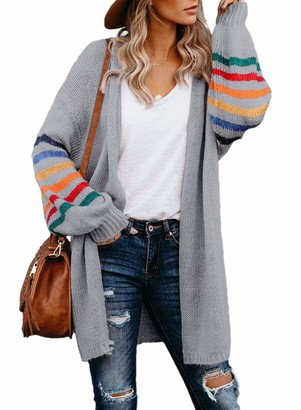 AlvaQ Women Open Front Cardigans Striped Color Block Sweaters Knit Long Sleeve Oversized Cloak Outerwear Gray