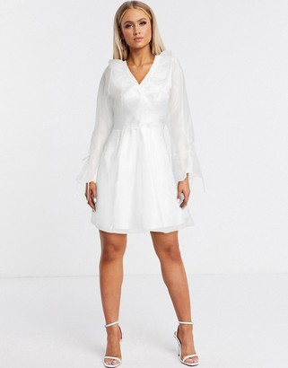 Forever U organza frill mini dress in white
