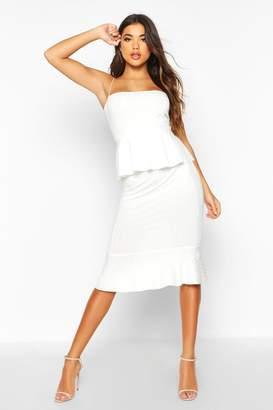 boohoo Rib Peplum Midi Dress