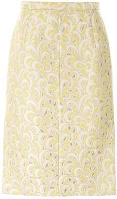 No.21 Metallic Printed Midi Skirt