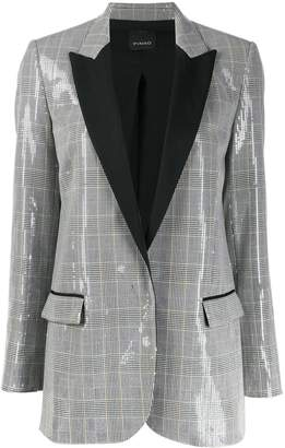 Pinko check print sequinned blazer