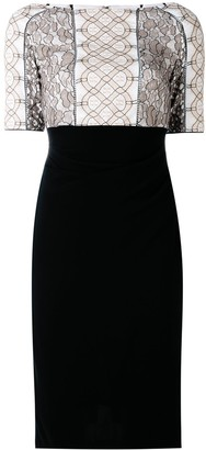 Talbot Runhof Lace Applique Fitted Dress