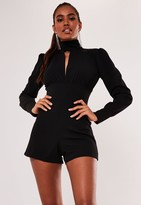 Missguided Black High Neck Key Hole Detail Playsuit