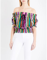 Caroline Constas Peasant off-the-shoulder striped cotton-voile top