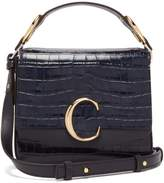Chloé The C Small Crocodile-effect Leather Shoulder Bag - Womens - Navy