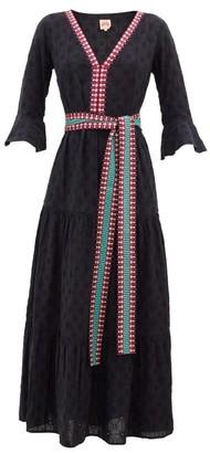 Le Sirenuse Positano Le Sirenuse, Positano - Bella Embroidered Cotton-poplin Maxi Dress - Navy