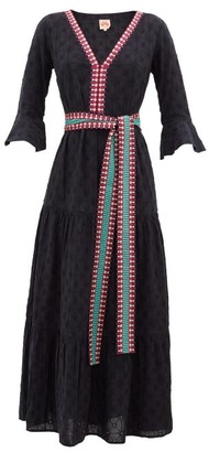 Le Sirenuse Le Sirenuse, Positano - Bella Embroidered Cotton-poplin Maxi Dress - Womens - Navy