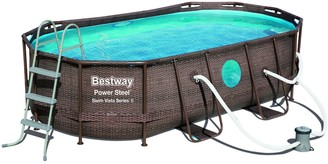 "Bestway Best Way Power Steel Swim Vista Series 14' x 8'2"" x 39.5"" Oval Pool Set"