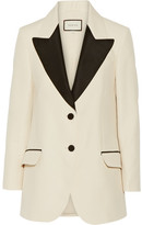 Gucci Two-tone Wool And Silk-blend Faille Blazer - Cream