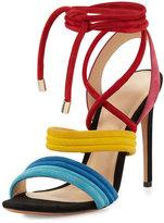 Alexandre Birman Aurora Strappy Suede Sandal, Multicolor
