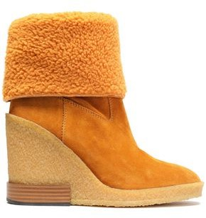 Tod's Shearling Wedge Ankle Boots