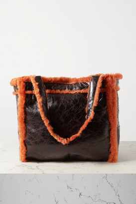 Dries Van Noten Reversible Shearling And Crinkled-leather Tote - Brown