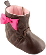 Luvable Friends Brown Quilted Bow-Accent Booties
