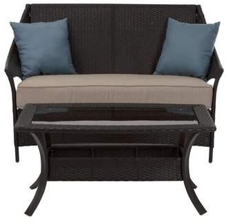 Cosco Lakewood Isle 2pc Resin Wicker Coffee Table & Love Seat - Dark Brown/Tan/Blue