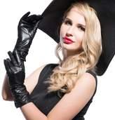 Matsu Gloves MATSU Classic Women Winter Warm Lambskin Long Fleece Lined Leather Ruched Gloves M9021