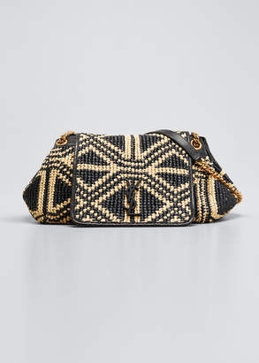Saint Laurent Kate Woven Raffia Shoulder Bag
