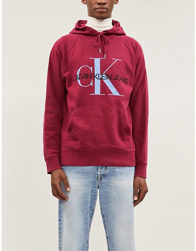 CK Calvin Klein Monogram-print cotton-jersey hoody