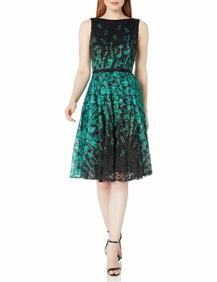 Gabby Skye Women's Floral Print Fit and Flare Belted Lace Dress