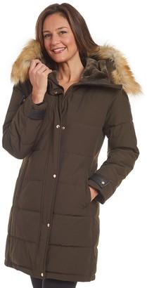 Nine West Women's Heavyweight Faux Fur Lined Hood Puffer Coat