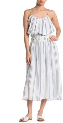 Frame Striped Sleeveless Blouson Midi Dress