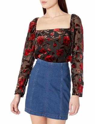 ASTR the Label Women's Demetria Square Neck Velvet Bodysuit Red Floral M