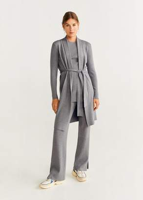MANGO Long belt cardigan sand - XS - Women