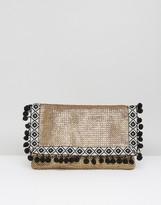 Asos BEACH TEAM PLAYER Glam Weave Clutch Bag