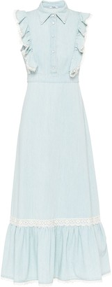 Miu Miu Lace-Detailing Denim Long Dress