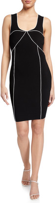 Milly Piped Sleeveless Sheath Dress