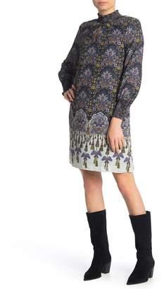 Nanette Lepore Smocked Long Sleeve Print Dress