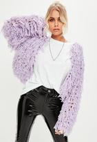 Missguided Lilac Shaggy Crop Cardigan, Purple