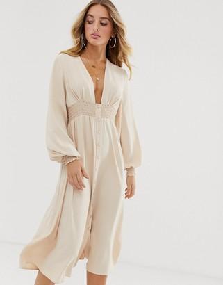 Asos Design DESIGN long sleeve button through midi dress with shirred waist-Beige