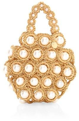 Alameda Turquesa Hana Faux Pearl & Raffia Top Handle Bag